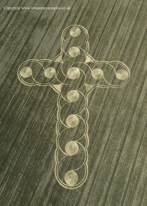 Large Crop Circle Cross with many tracks.